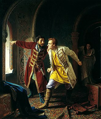 Polish–Muscovite War (1605–1618) - Last minutes of False Dmitry I by Carl Wenig, painted in 1879. False Dmitry tried to flee from the plotters through a window but broke his leg and was shot. After cremation his ashes were shot from a cannon towards Poland.
