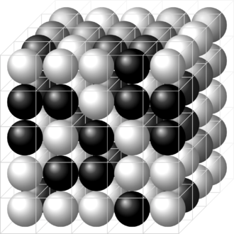 Lattice model (physics) - A three-dimensional lattice filled with two molecules A and B, here shown as black and white spheres. Lattices such as this are used - for example - in the Flory–Huggins solution theory