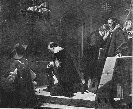 Strafford led to Execution, by Paul Delaroche, oil-on-canvas, 1836, depicts Laud giving his blessing to the Earl of Strafford. Laud & Strafford.jpg