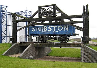 Leicester and Swannington Railway - The wooden lifting bridge reconstructed next to the entrance to Snibston Discovery Park. Since removed after the closure of the Discovery Park in July 2015.