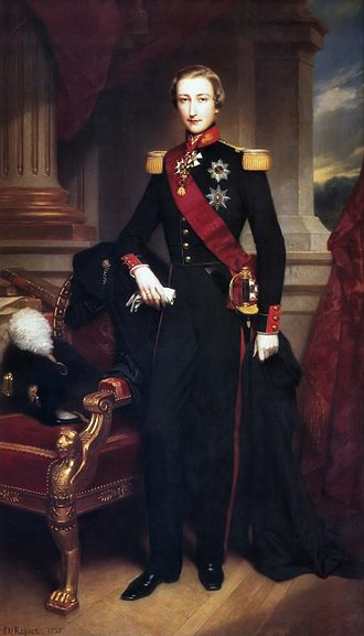 Leopold II of Belgium - Leopold as a younger man in the uniform of the Grenadiers (Portrait by Nicaise de Keyser)