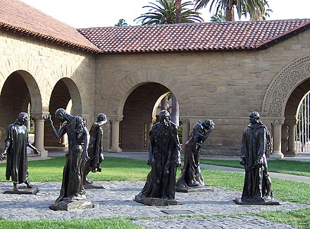 Bronze statues by Auguste Rodin are scattered throughout the campus, including these Burghers of Calais. Les-bourgeois-de-Calais.jpg