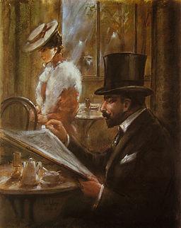 Lesser Ury Im Cafe Bauer 1898