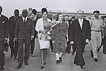 Levy Eshkol, Foreign Min. Mrs. Golda Meir, Nicole Grunitzky, Daughter Of Togo Pres. And Foreign Min. Georges Apedo Amah Arriving Lod Airport. April 1964. D800-073.jpg