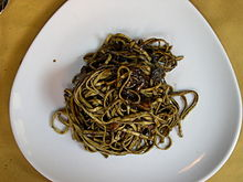 Linguine with cuttlefish and ink sauce as served at a Venetian Café