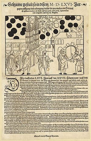 1566 celestial phenomenon over Basel - Flugblatt of Basel 1566, by Samuel Apiarius and Samuel Coccius.