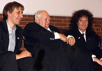 Patrick Moore - Moore with his co-presenter Chris Lintott and Brian May, astrophysicist and Queen guitarist, at AstroFest in 2007