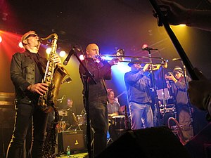 Liquid Soul - Liquid Soul horn section during their 20th anniversary show at the Double Door January 2013