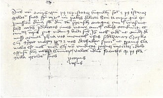 "Prokop the Great - A letter dated 6 May 1424 from Prokop to the besiegers of Plzeň informing them of the taking of the New Town, signed ""Procopius Rasus"""