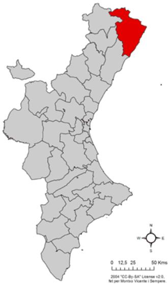 Baix Maestrat - Image: Localització del Baix Maestrat respecte del País Valencià