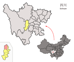 Location of Baoxing within Sichuan (China).png