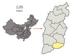 Location of Jincheng City jurisdiction in Shanxi