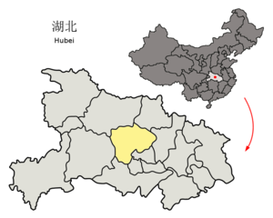 Jingmen - Image: Location of Jingmen Prefecture within Hubei (China)