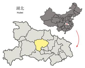Jingmen - Image: Location of Jingmen Prefecture within Hubei (China)