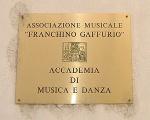 Franchinus Gaffurius - The entrance of Musical Association Franchino Gaffurio in Lodi.