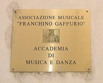 Franchinus Gaffurius - The entrance of Musical Association Franchino Gaffurio in Lodi.