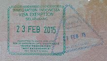 Entry and exit passport stamps at Lombok International Airport. Note ...