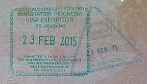 Lombok International Airport - Entry and exit passport stamps at Lombok International Airport. Note that they bear the name of the old airport, Selaparang.