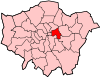 Location of the London Borough of Tower Hamlets in Greater London