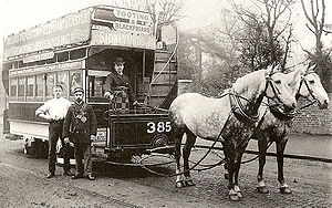 Horsecar - London Tramways two-horse tram, about 1890.