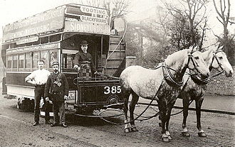 Trams in London - A London Tramways horse tram, c 1890