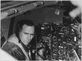 Looking grim and determined, veteran bomber pilot Capt. Criffis DeNeen, 18405 Patton Ave., Detroit, Mich., veteran of... - NARA - 542354.tif