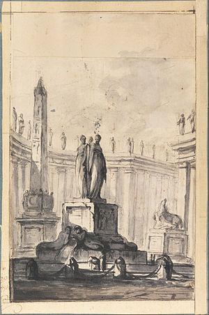 "Louis-Joseph Le Lorrain - ""Architectural Fantasy with Fountain and Obelisk"" by Louis-Joseph Le Lorrain, c.a. 1745"