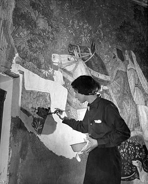 Louise Brann - Brann painting a fresco at the Mount Vernon Public Library for the Federal Art Project (1936)