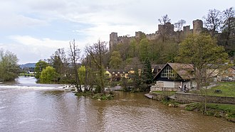 Ludlow Castle - Seen here across the River Teme, the castle was built on a rocky promontory.