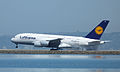 Lufthansa AirbusA380D-AIMB making smoke (10191452256).jpg