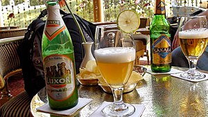 Beer in Egypt - A bottle of Luxor Weizen, a wheat beer from the Luxor brand brewed by Egybev, and a bottle of Sakara Gold