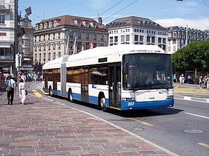 Trolleybuses in Lucerne - A Hess Swisstrolley crossing the Reuss, 2005.
