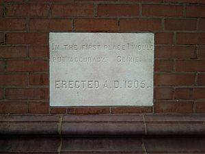 """Lyman Hall (academic) - The building's cornerstone, with the inscription """"In the first place I would put accuracy."""""""