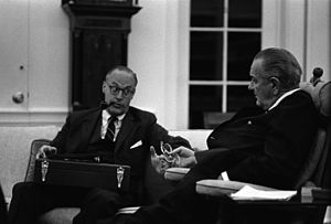 Deputy National Security Advisor (United States) - Image: Lyndon Johnson and Robert Komer