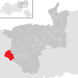 Location of the municipality of Münster (Tyrol) in the Kufstein district (clickable map)