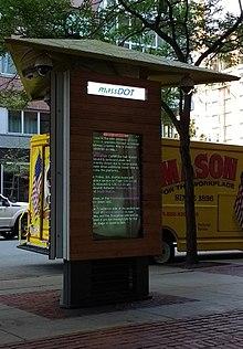 The MassDOT Kiosk outside of the Park Plaza headquarters.