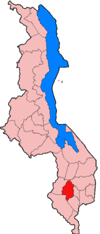 Blantyre District - Location of Blantyre District in Malawi