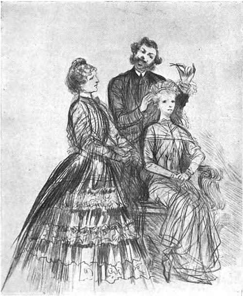 SOUS LA DIRECTION DE SA MÈRE, SARAH BERNHARDT EST ENTRE LES MAINS DU COIFFEUR, AVANT SON EXAMEN DU CONSERVATOIRE. (DESSIN DE G. CLAIRIN)