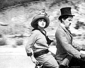 Mabel at the Wheel - Normand and Chaplin in a still from the film