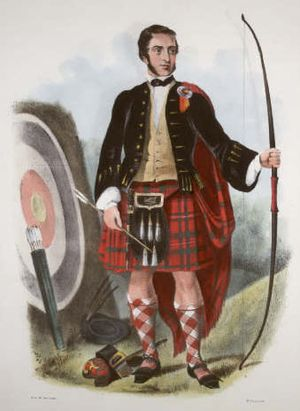 Clan Mackinnon - A Victorian era, romanticised depiction of a member of the clan by R. R. McIan, from The Clans of the Scottish Highlands, published in 1845.