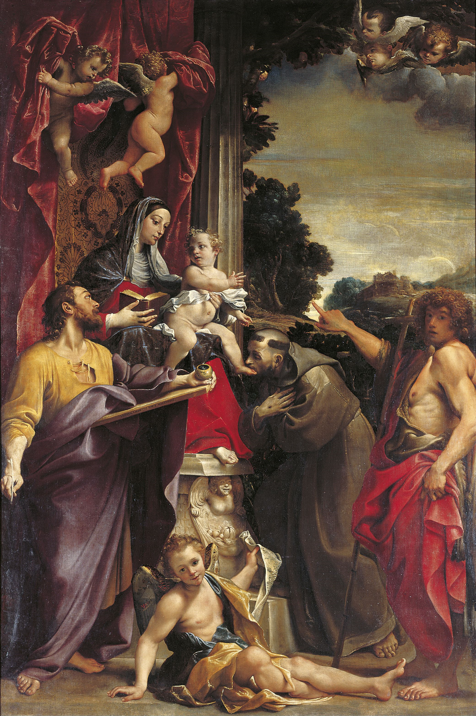 Madonna Enthroned with Saint Matthew, Annibale Carracci, 1588
