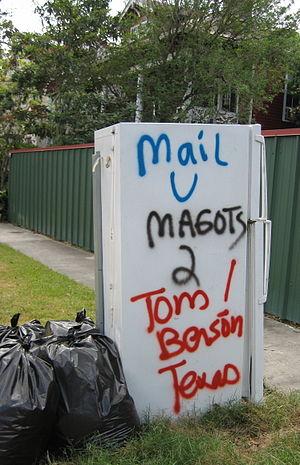 Katrina refrigerator - Refrigerator criticizing Tom Benson