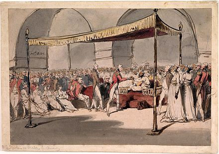 Major-General Wellesley, meeting with Nawab Azim al-Daula, 1805 Major-General the Hon. Arthur Wellesley being received in durbar at the Chepauk Palace Madras by Azim al-Daula Nawab of the Carnatic 18th February 1805.jpg