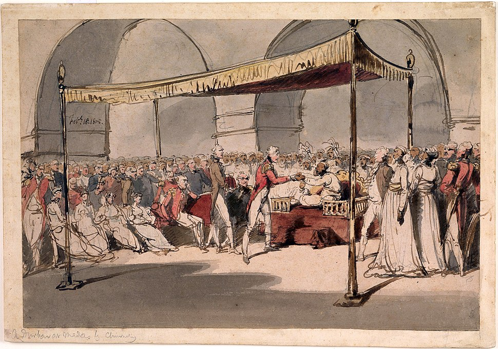 Major-General the Hon. Arthur Wellesley being received in durbar at the Chepauk Palace Madras by Azim al-Daula Nawab of the Carnatic 18th February 1805