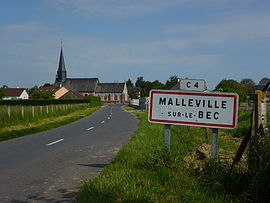 Malleville-sur-le-Bec (Eure, Fr) city limit sign.JPG