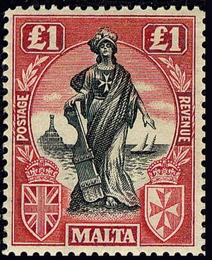 Melita (personification) - Melita depicted on a £1 stamp designed by Edward Caruana Dingli issued on 28 August 1922