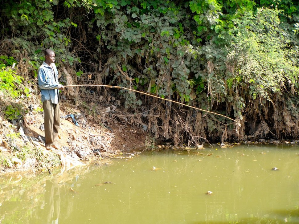 Man fishing from the banks of a lake in Burkina Faso, 2009