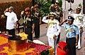 Manohar Parrikar along with the three Service Chiefs General Dalbir Singh, Admiral Sunil Lanba and Air Chief Marshal Arup Raha paying homage to the martyrs at Amar Jawan Jyoti, India Gate.jpg
