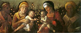 Mantegna funerary chapel - Image: Mantegna, sacra famiglia e famiglia del Battista, mantova