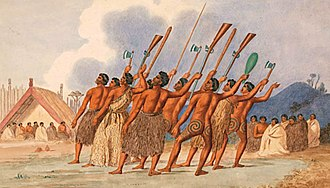 Haka - The haka is a traditional genre of Māori dance. This picture dates from c. 1845.
